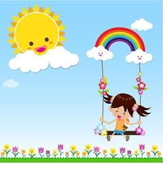 Girl with sun rainbow and cloud 002 vector