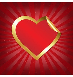 Golden Heart Sticker With Sunburst vector image