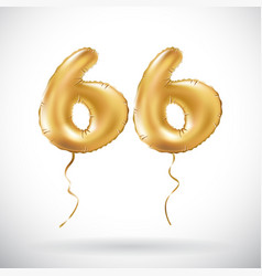 Golden number 66 sixty six metallic balloon party vector
