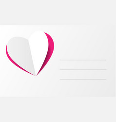 Heart shaped paper on card of love vector