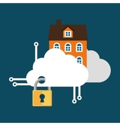 Home security cloud technology lock vector