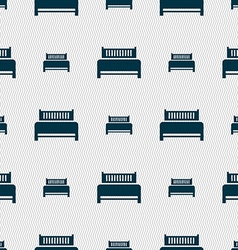 Hotel bed icon sign Seamless abstract background vector image vector image