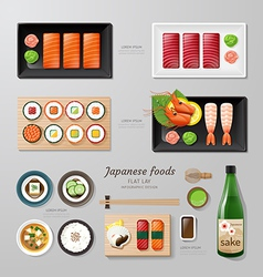 Infographic japanese foods business flat lay idea vector image
