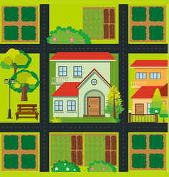 Map design with houses and farmyards vector