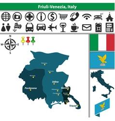 Map of Friuli Venezia vector image vector image