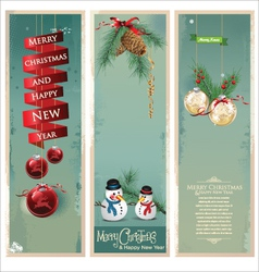Merry Christmas banner vertical background vector image vector image