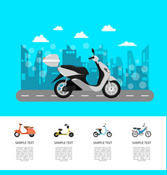 Modern scooter on road poster in flat style vector