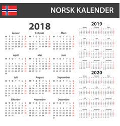 Norwegian calendar for 2018 2019 and 2020 vector