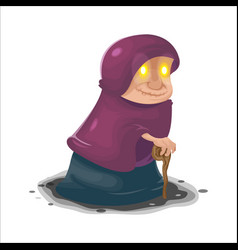 Old woman mysterious cartoon character vector