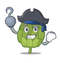 Pirate artichoke character cartoon style vector