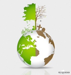 Save the world tree on a deforested globe and vector