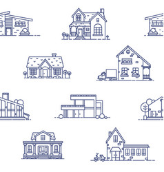 seamless pattern with suburban houses drawn with vector image vector image