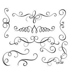 Set art calligraphy flourish of vintage decorative vector