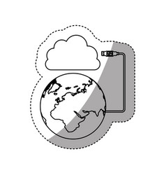 sticker silhouette cloud storage global hosting vector image
