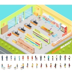 Supermarket interior in isometric projection 3d vector