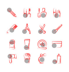 thin line cosmetics icons on white background vector image vector image
