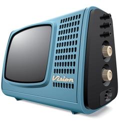 Vintage compact television receiver vector image vector image