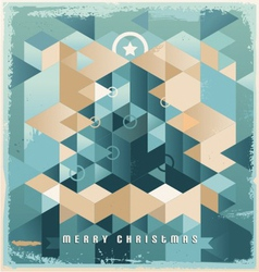 Christmas tree retro background design vector