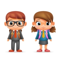 Realistic school boy girl child pupil cartoon vector