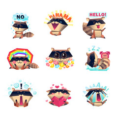 Emotions of raccoon set cartoon style vector