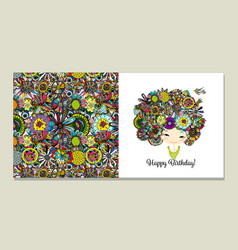 greeting card design floral female portrait vector image