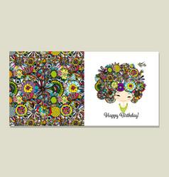 Greeting card design floral female portrait vector