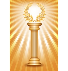 Column laurel gold vector