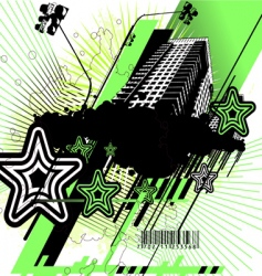 Green and black urban design vector