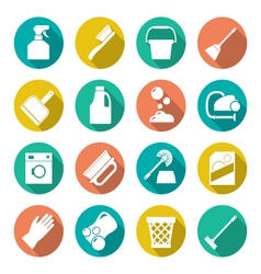 Set flat icons of cleaning vector