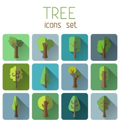 Set of 12 square tree icons with long flat shadow vector