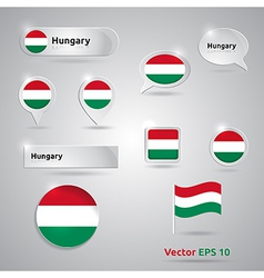 Hungary icon set of flags vector