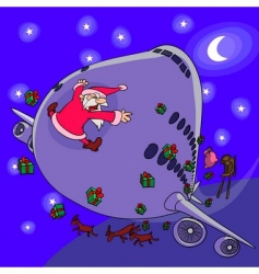 Santa claus sledge crash vector