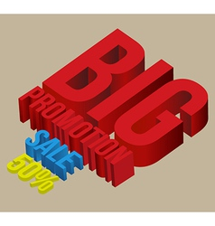 3D big promotion sale vector image vector image