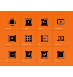 Microchip and microprocessor icons on orange vector