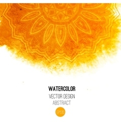 Orange watercolor brush wash with pattern - round vector