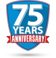 Flat design 75 years anniversary label with red vector