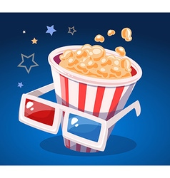 Red and white bucket with popcorn and cin vector