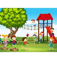 Kids playing and racing in the playground vector
