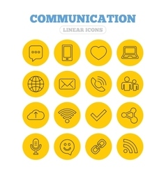 Communication icon smartphone laptop and chat vector