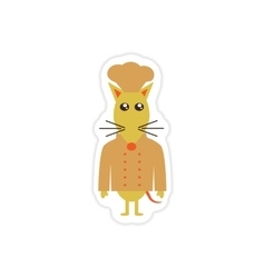 Stylish paper sticker on white background mouse vector