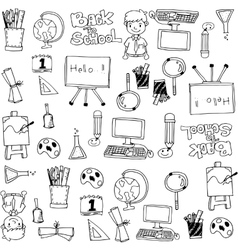 Black white hand draw school doodles vector