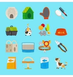 Pet cat toys and food icons vector