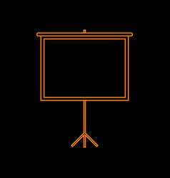 Blank projection screen orange icon on black vector