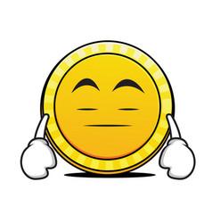 Bored face coin cartoon character vector