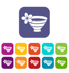Bowl with water for spa icons set vector