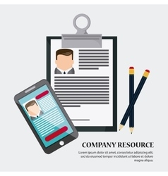 Businessman smartphone pencil cv document icon vector