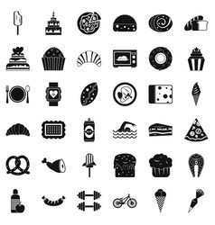 Calories in food icons set simple style vector