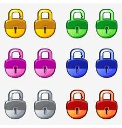 Cartoon colored padlock vector image