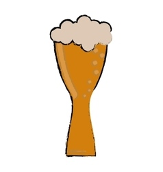 Drawing glass light beer fresh bubbles vector