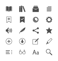 E-book reader flat icons vector